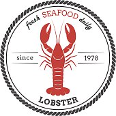 Vector lobster silhouette. Lobster label. Template for restaurants, stores, food packaging. Seafood illustration.