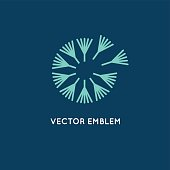 Vector logo design template in linear style - dandelion concept - simple emblem