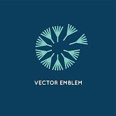 Vector logo design template in linear style - dandelion concept - simple emblem