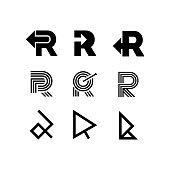 Modern Vector Logo Letter R. R Letter Design Vector Arrow