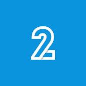 Modern Vector Logo Number 2. 2 Number Design Vector