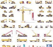 Vector low poly construction machinery set