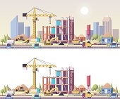 Vector low poly building construction site
