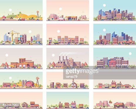 Vector low poly landscapes set : stock vector