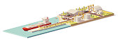 Vector low poly cargo port LNG terminal with tanker ship and LNG plant