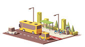 Vector low poly modern urban public transport. Includes bus with bus station, taxi, personal car, bicycle sharing system