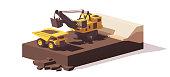 Vector low poly power shovel excavator loading mining haul truck