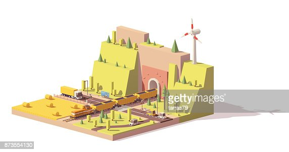 Vector low poly railroad crossing : Vector Art