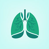Beautiful vector illustration of medical lungs icon. Editable abstract image in light green and emerald colors useful for a poster, icon, logo, placard, sign, label and web banner creative design.