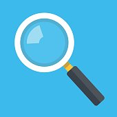 Vector magnifying glass icon isolated on blue background