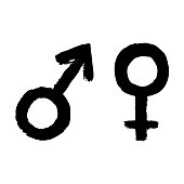 vector man and woman sign icon symbol of feminine female and male
