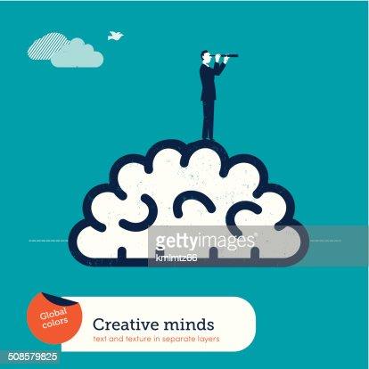 Vector man with a spyglass on a brain : Vector Art