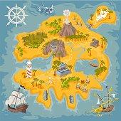 Hand drawn pirat bay rebuilt as an island of  fantasy