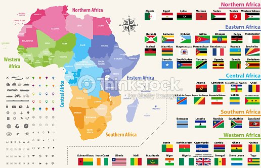 Vector Map Of Africa Continent Colored By Regions All Flags Of ...