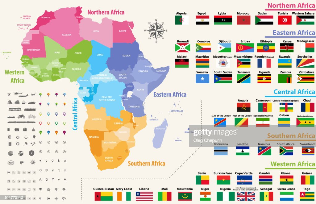 Vector Map Of Africa Continent Colored By Regions. All Flags Of African  Countries Arranged In
