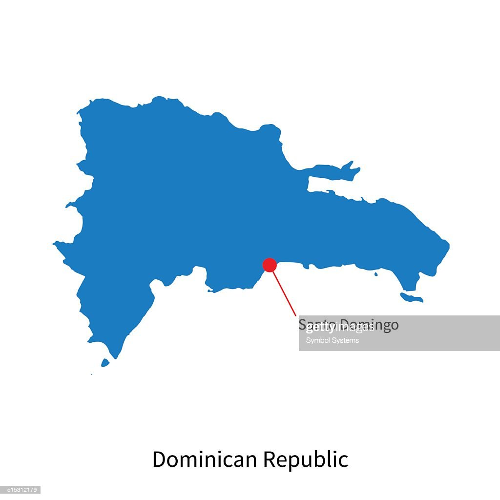 Vector Map Of Dominican Republic And Capital City Santo Domingo - Dominican republic map vector