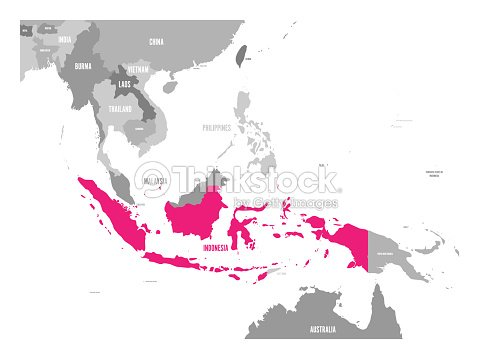 Map Of Asia Indonesia.Vector Map Of Indonesia Pink Highlighted In Southeast Asia Region
