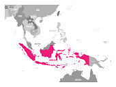 Vector map of Indonesia. Pink highlighted in Southeast Asia region.