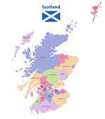 vector map of Scotland unitary authorities