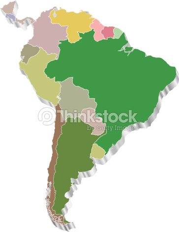 Map Of America 3d Vector.3d Vector Map Of South America Vector Art Thinkstock