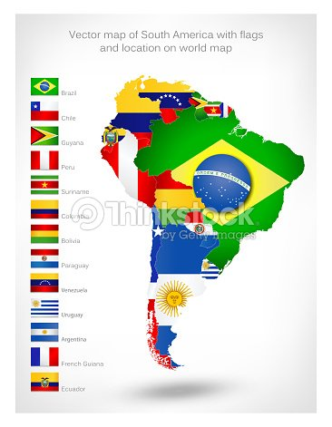 Vector map of south america with flags vector art thinkstock vector map of south america with flags vector art gumiabroncs Image collections