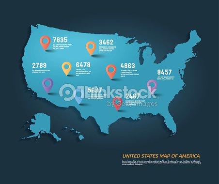 벡터 infographic 요소와 아메리카 합중국의 지도. : 벡터 아트