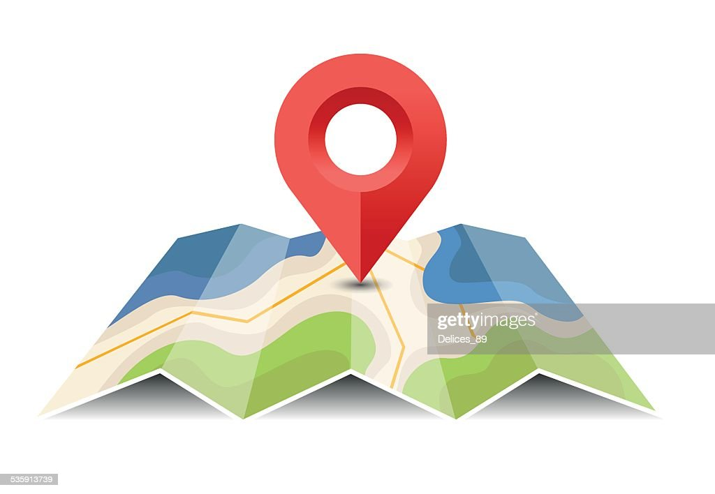 Vector map with pin pointer - Illustration : Vector Art