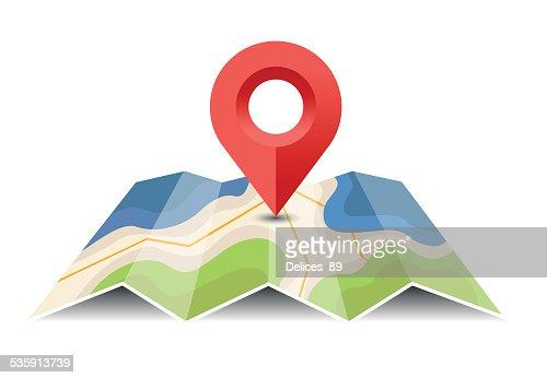 Vector map con puntero pin-Ilustración : Arte vectorial