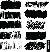 Vector marker lines set. Hand drawn black grunge marker backgrounds for your design. Change color in one click.