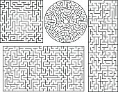 Vector Maze templates. Circle and square labyrinth sample