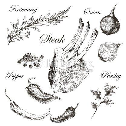 Viande De Steak Croquis Dessin Vecteur De Design Modele Nourriture