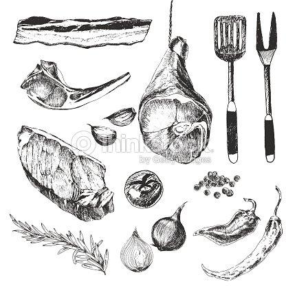 Vector Meat Steak Sketch Drawing Designer Template Grilled ...