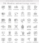 Vector Media advertising ultra modern outline line icons for web and apps