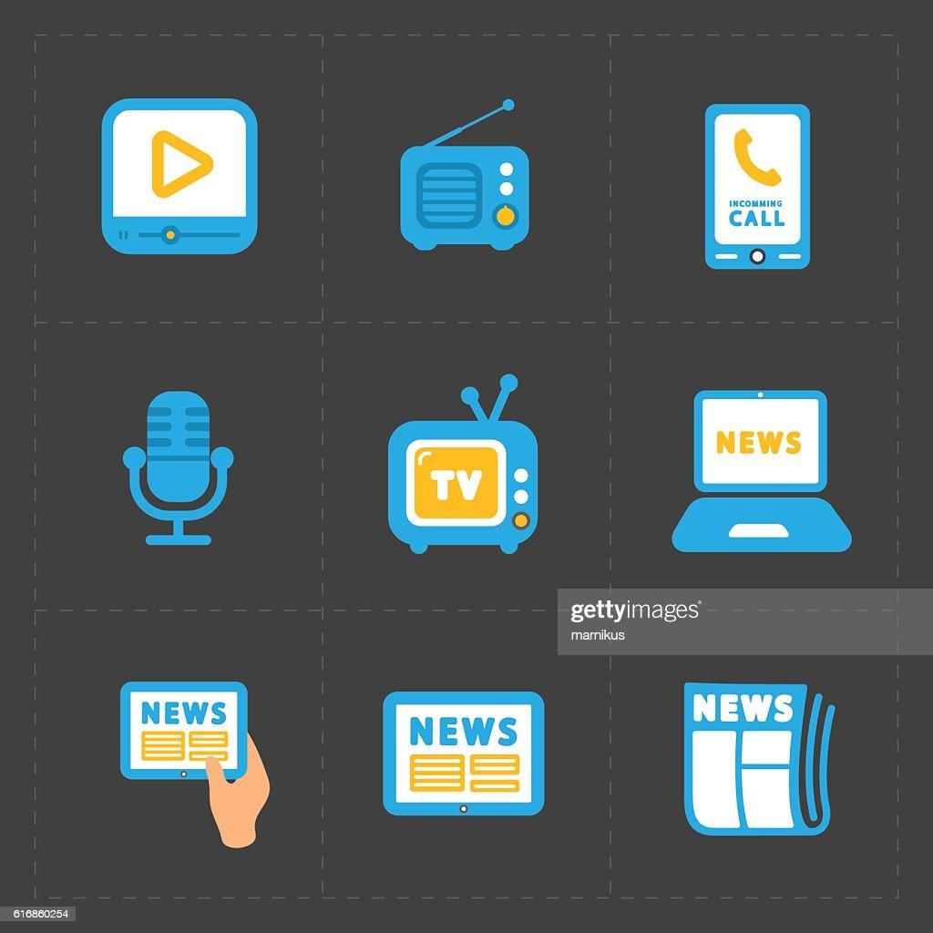 Vector Media Icons set on dark background : Vector Art