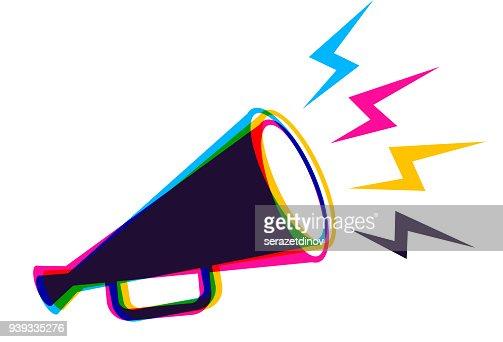 Vector megaphone in CMYK style. : stock vector