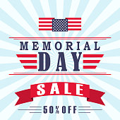 Memorial Day sale background with stars, ribbon and lettering. Template for Memorial Day. Vector illustration.
