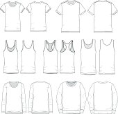 Tee templates for both men and women in various types of sleeves, front and back views.