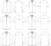 Vector illustration of various unisex botton-up shirts for mock up.