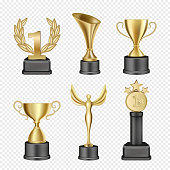 Vector set of metal award cups. Realistic gold trophy cup icons. Sports and corporative awards.