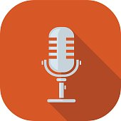 Microphone Flat Icon. Vector illustration icon for electronic recording audio equipment using a MIC.
