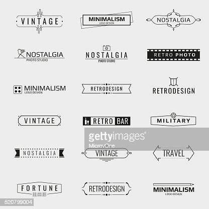 Vector modelos de logotipo vintage mínima : arte vetorial