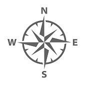 Simple Modern Vector illustration of a compass rose symbol