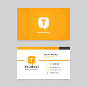 Vector modern creative and clean business card template, flat design with yellow color and communication symbol, business card vector template