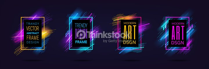 Vector modern frames with dynamic neon glowing lines isolated on black background. Art graphics with laser effect. Design element for business cards, gift cards, invitations, flyers, brochures : stock vector