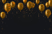 Vector modern golden balloons background for happy berthday or anniversary day. Event invitation