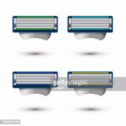 Vector modern razor icons set on white background : Vector Art
