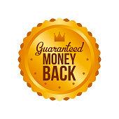 Vector Money Back Guarantee Gold Sign, Label.