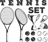 Vector monochrome set of tennis game elements on white background
