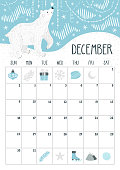 Vector monthly calendar with cute polar bear. December 2018. Planning design. Calendar page with smiling cartoon character.