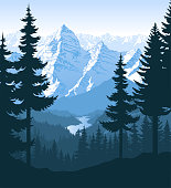 vector morning in beautiful mountains forest with river